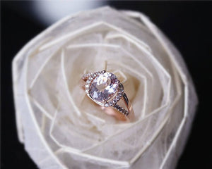 1.95CT Oval Natural Morganite Wedding Sets Rose Gold Ring Sets