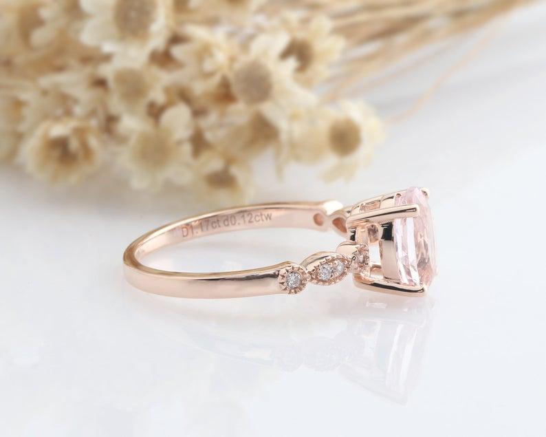 1.17CT Oval Cut Natural Morganite Wedding Band Promise ring Rose gold ring