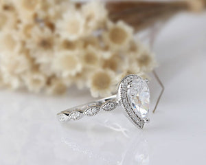 1.75CT Pear Cut Moissanite Engagement Ring/ Wedding Ring