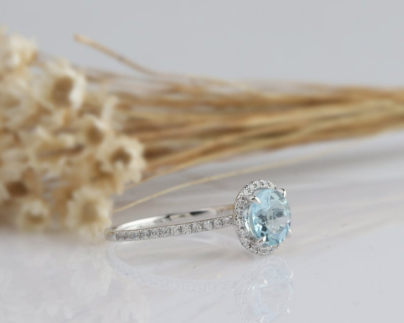 1.2CT Round Natural Aquamarine Bridal Anniversary Ring White Gold Ring