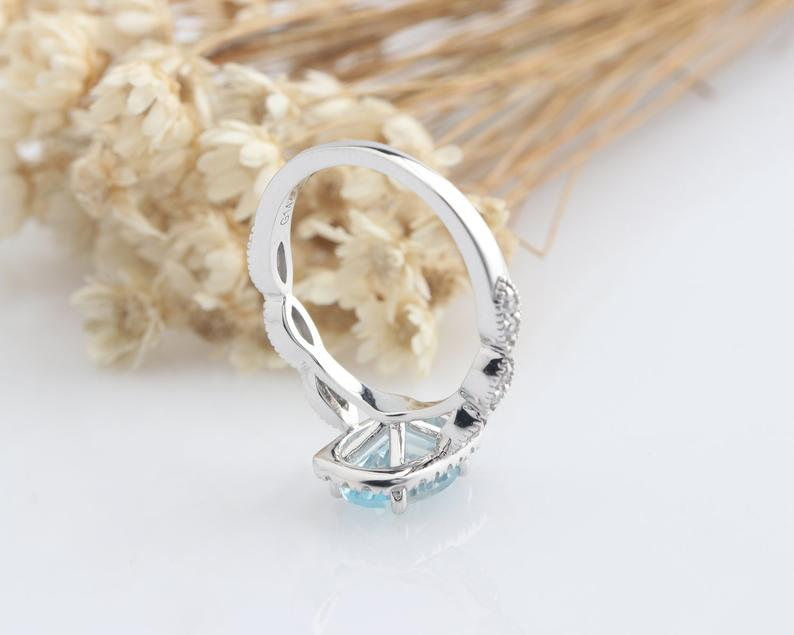 1.15CT Oval Natural Aquamarine Center Ring Promise Ring Halo Split Shank Ring