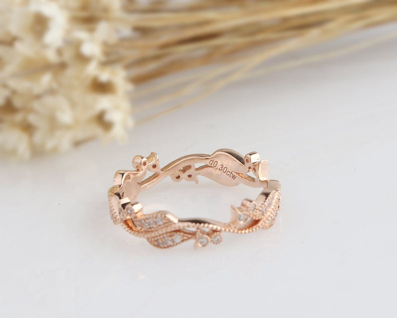 14K Solid Gold Rings Promise Ring Matching Band