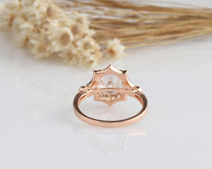 2CT Round Moissanite Ring Rose gold Ring For Women Engagement Ring