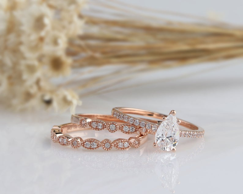 0.94CT Pear Anniversary Ring Rose gold Ring Bridal set 3pcs