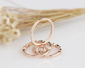 1CT Round Engagement Ring Moissanite Rose Gold Ring