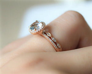 1.2CT Round Natural Aquamarine Bridal Sets Promise ring Rose Gold Ring Sets
