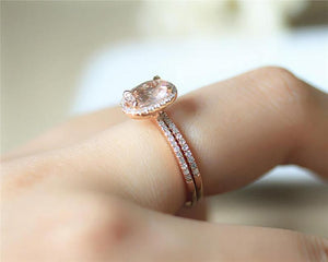 1.16CT Oval Cut Natural Morganite Wedding Band Rose gold Ring