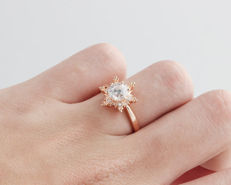 1CT Round Moissanite Ring Rose gold Ring For Women Engagement Ring