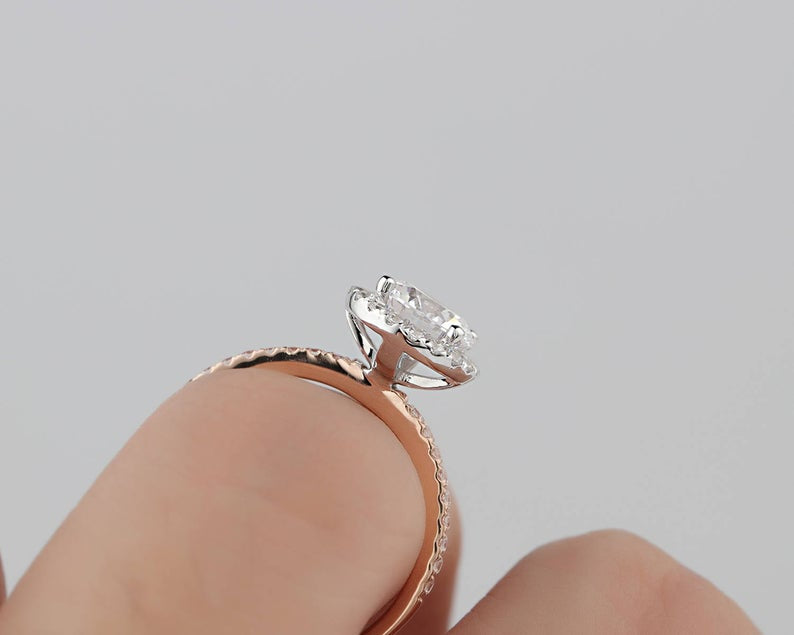 1CT Round Moissanite Ring Two tone gold ring For Women