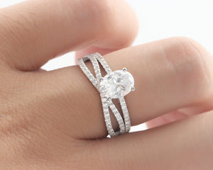 1.5CT Oval Cut Moissanite Engagement Ring Anniversary Ring