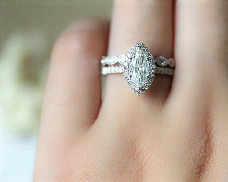 1CT Marquise Cut Moissanite Ring Set White Gold Ring