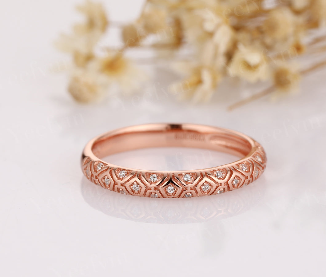 14K Solid Rose Gold Moissanite Wedding Ring For Ladies