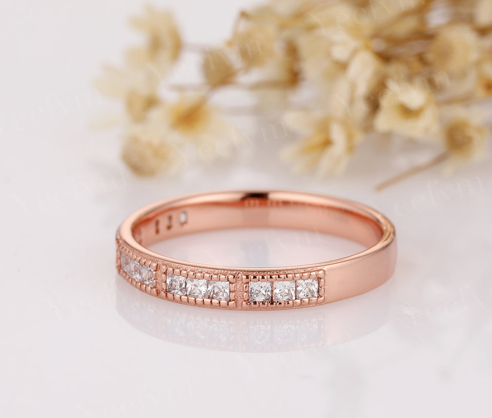 14K Solid Rose Gold Moissanite Wedding Ring Half Eternity Ring For Women