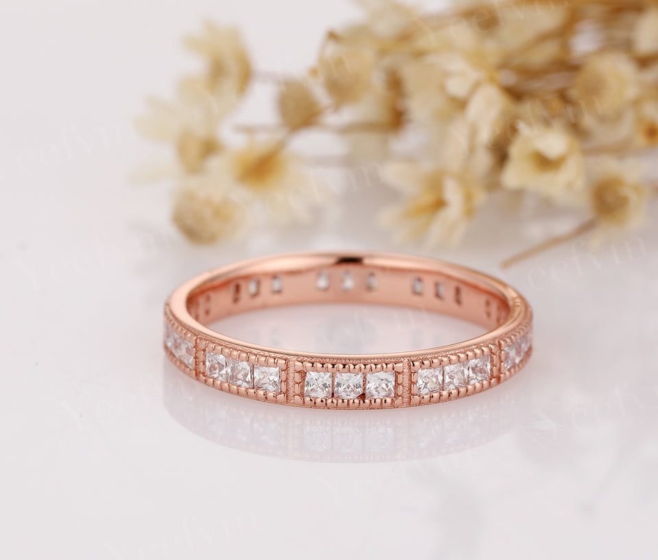 14K Solid Rose Gold Moissanite Wedding Rings For Lover Daily Wedding Band