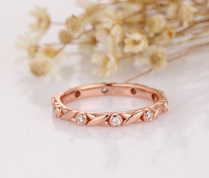 14K Solid Rose Gold Moissanite Wedding Rings Daily Ring For Lover