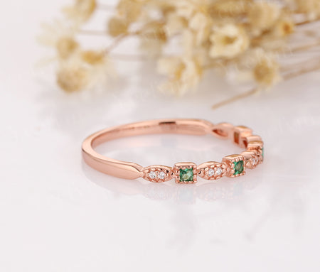Half Eternity Band 14K Rose Gold Wedding Ring Lab Created Emerald Ring