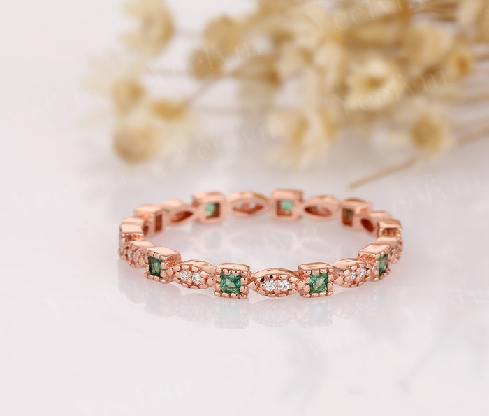 Full Eternity Band 14K Rose Gold Wedding Ring Lab Created Emerald Ring