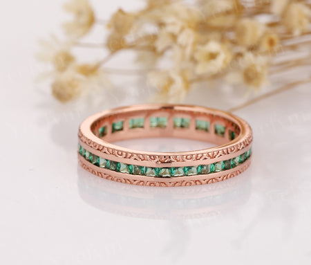 Wedding Band 14K Rose Gold Rings Lab Created Emerald Ring Matching Band