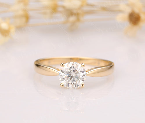1CT Round Moissanite Engagement Ring White Gold Ring