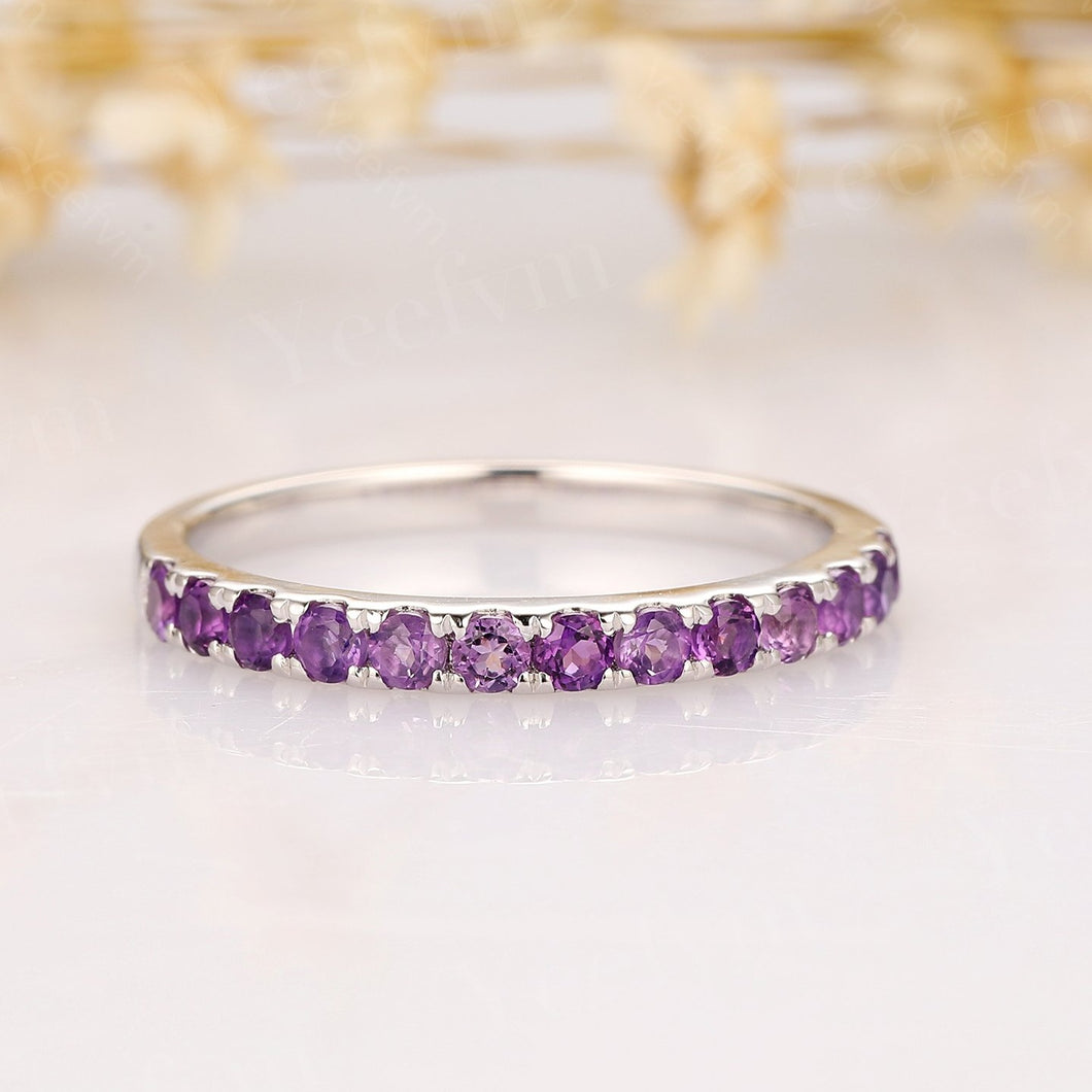 Natural Amethyst Ring 14K Solid Gold Matching Band Promise Ring