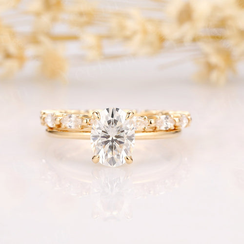 1.5CT Oval Moissanite Engagement Ring Yellow Gold Ring