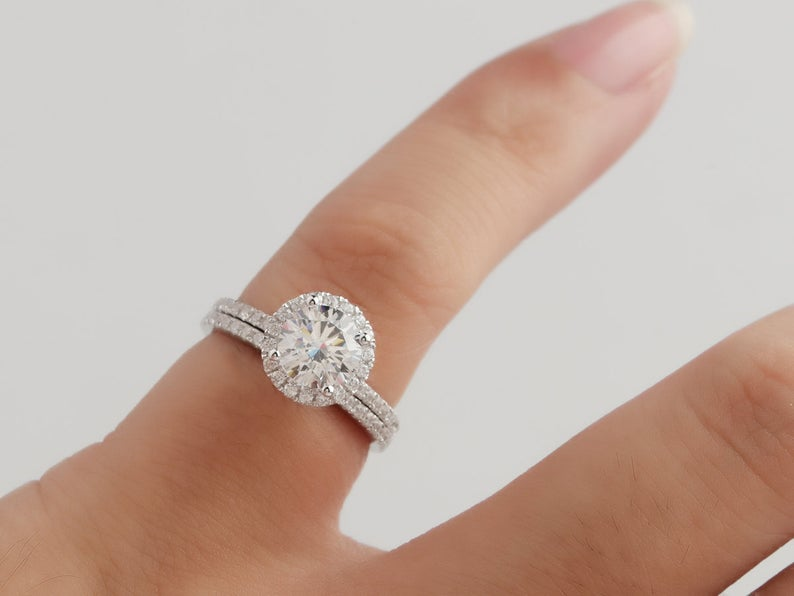 1CT Round Moissanite Engagement Ring Gold Ring For Women