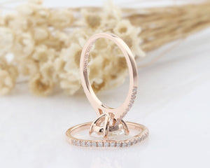 1.5CT Oval Moissanite Engagement Art Deco Ring Rose Gold Ring