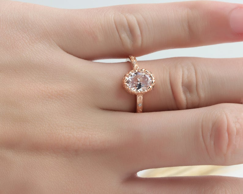 2CT Oval Moissanite Ring Rose Gold Ring Engagement Ring