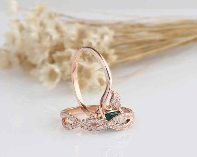 14K Solid Gold Engagement Ring Anniversary Ring Rose Gold Ring Sets