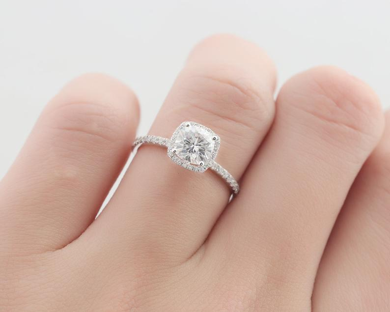 6.0mm Cushion Cut Halo Moissanite Wedding Ring Engagement Ring