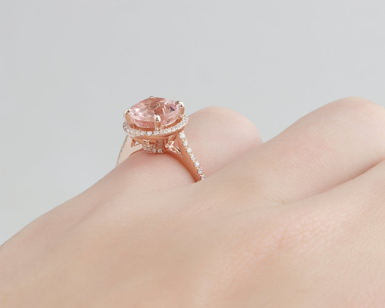 1.8CT Round Cut Natural Morganite Wedding Band Promise ring Rose gold ring