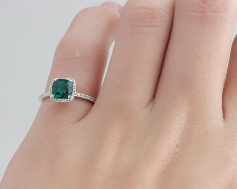 0.8CT Cushion Cut Lab Created Emerald Center Engagement Ring Halo White Gold Ring