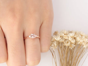0.6CT Round Natural Morganite Center Engagement Ring Vintage Rose Gold Ring