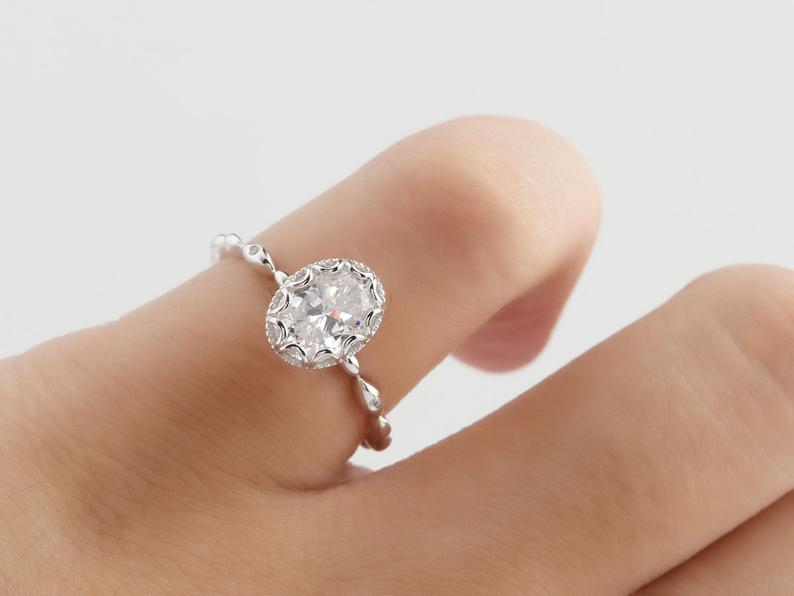 1.5CT Oval Cut Moissanite Bridal Set Engagement Ring