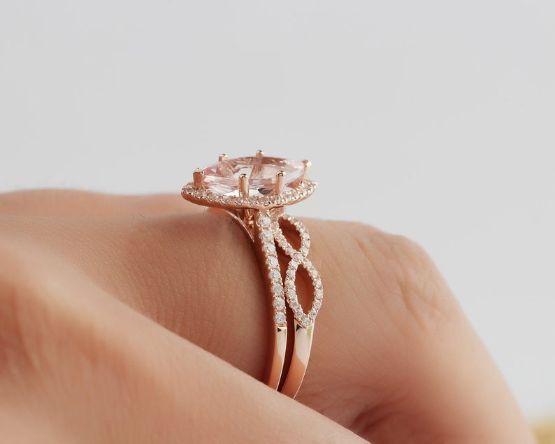 1.17CT Marquise Cut Natural Morganite Wedding Ring Rose Gold Ring