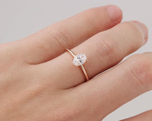 1CT Oval Moissanite Rose Gold Ring Engagement Ring