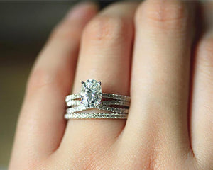 1.5CT Oval Simulated Diamond Wedding Ring White Gold Rings 3PCS Rings