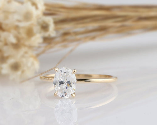 1.5CT Oval Cut Moissanite Engagement Ring Promise Ring, 14k Yellow Gold Ring