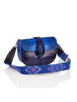 Claris Virot Blue Mix Lizard Bag Andrea