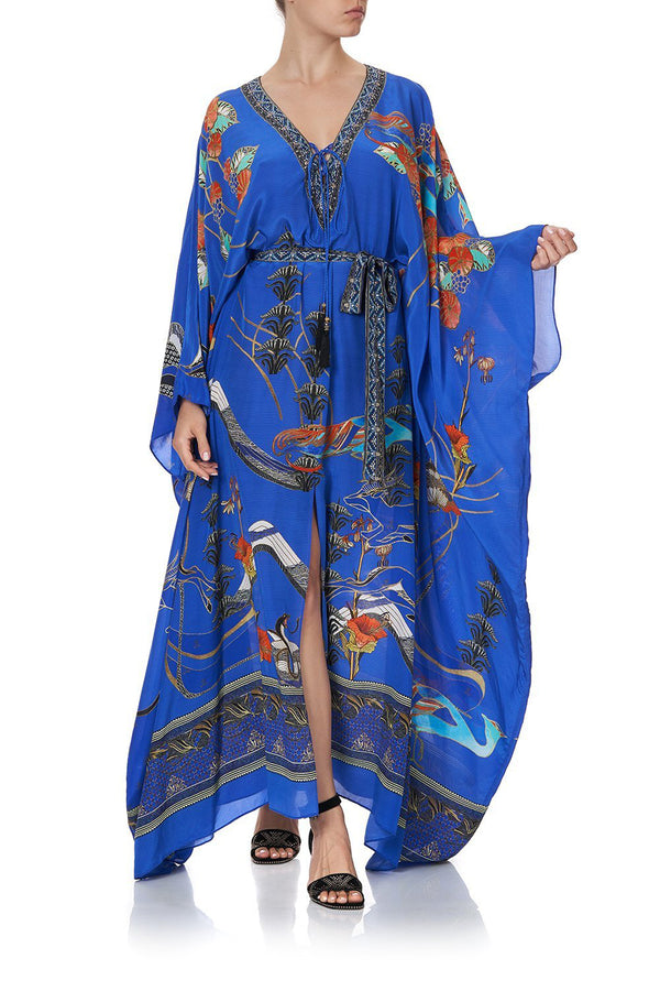 TREEOFLI Split Hem Lace Up Kaftan