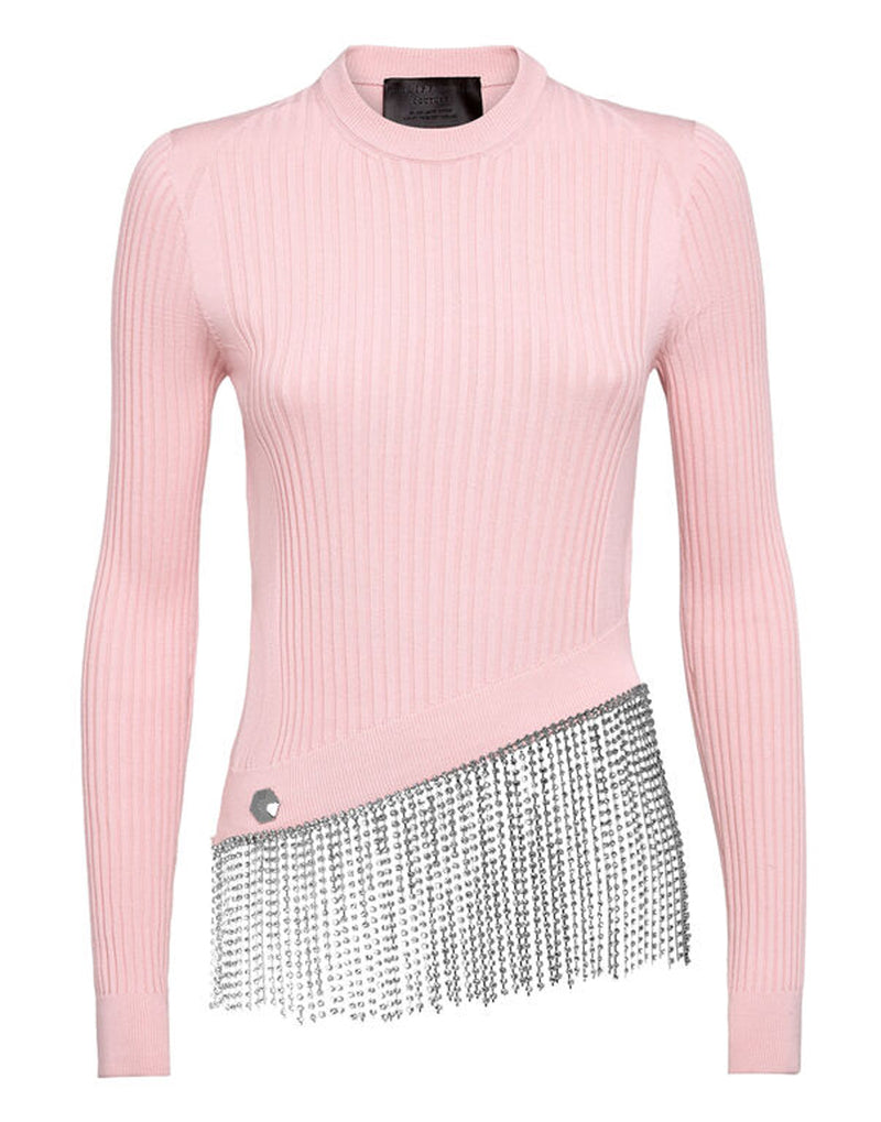 TURTLENECK LS CRYSTAL FRINGE