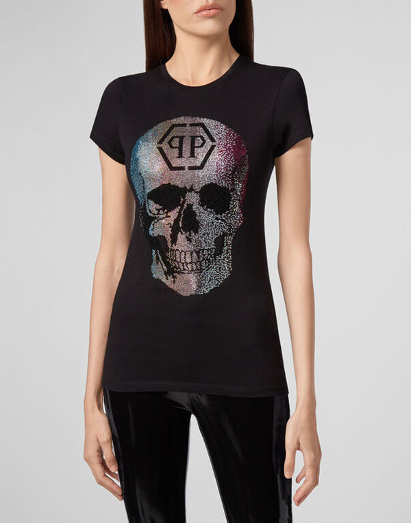 T-SHIRT ROUND NECK SS RAINBOW SKULL STRASS