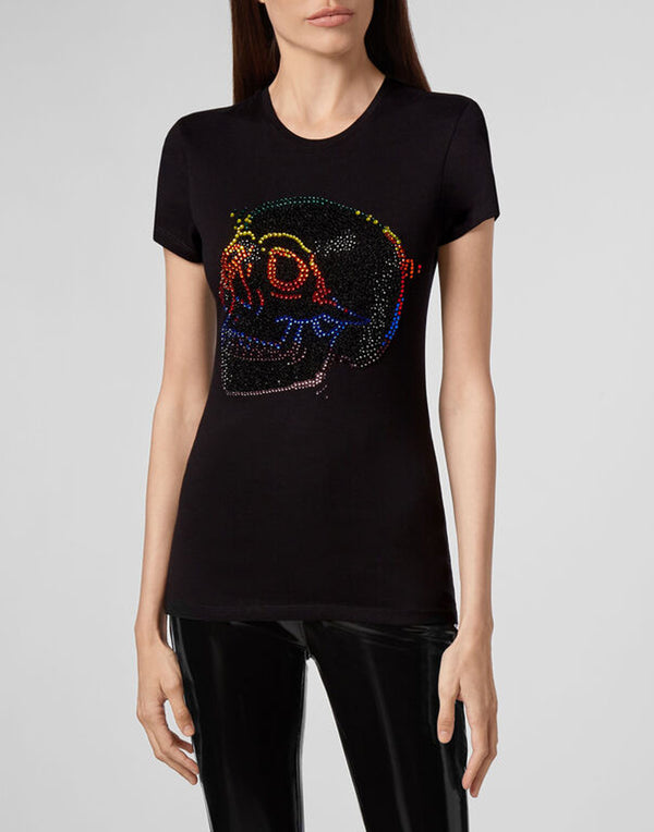 T-SHIRT ROUND NECK SS LOOK AT ME SKULL STRASS