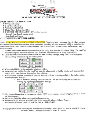 Tear Off Installation Instructions