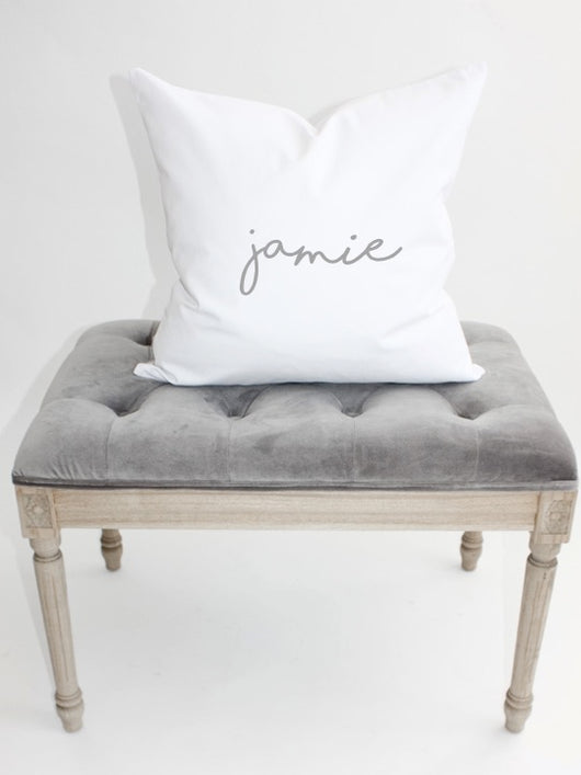 Personalized Name Pillow Cover 20x20 WHITE