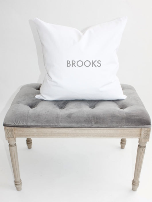 Personalized Name Block Letter WHITE 18x18 Pillow Cover