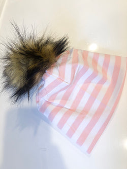 Light Pink Stripe Pom Hat