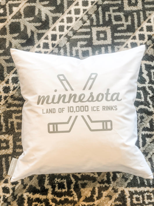 MINNESOTA land of rinks WHITE 20 x 20 Pillow cover