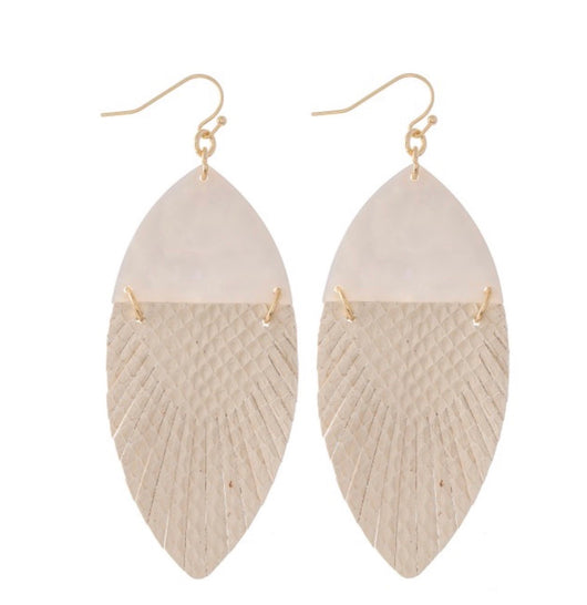 The leather feather ivory Earrings