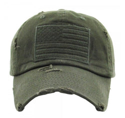 Army Green American Flag Vintage Cap